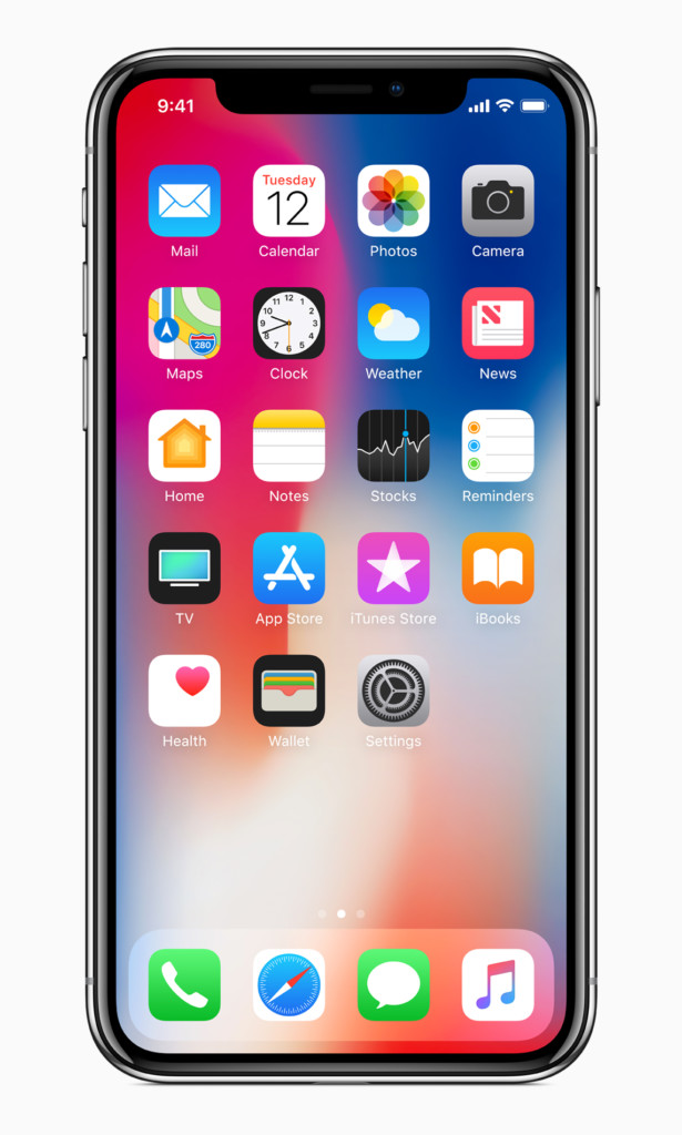 iPhone X front-homescreen